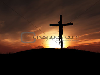 3D image of Jesus on the cross at sunset