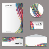 Business stationery layout with wave design