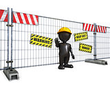 3D Morph Man at Construction Fence
