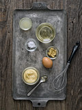 rustic homemade mayonnaise and ingredient