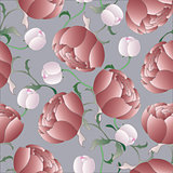 vector seamless background with peonies