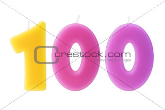 100th birthday candles isolated