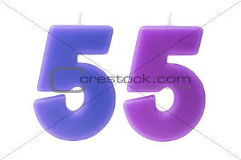 55th birthday candles isolated