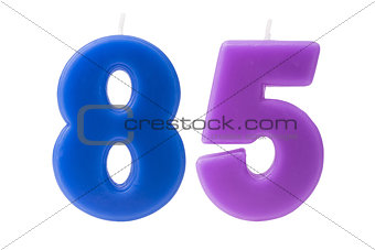 85th birthday candles isolated