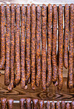 Hanging sausages