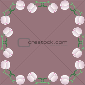 Frame with peony. Floral art print vector