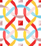 Vector seamless pattern with flat ribbons
