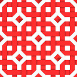 Interwoven red ribbons. Seamless pattern