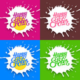 Set of Happy Easter lettering backgrounds