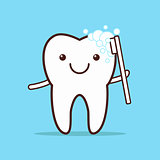 Tooth with toothbrush