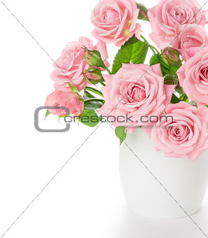 Beautiful bouquet of fresh pink roses