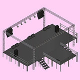 Isometric vector event stage truss