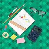 Stationery accessories office vector set