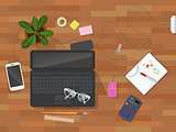 Workplace desk vector top view