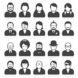 Simple people avatars and userpics with different style and hair