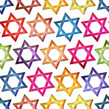 Seamless texture colorful Jewish star