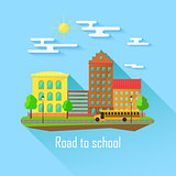School building, bus and front yard with students children. Flat style vector illustration