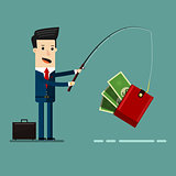 Businessman Catching Money With Fishing Rod. Business Concept Cartoon Illustration.