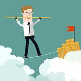 Businessman rope walk dollar sign pole.  Business concept cartoon illustration