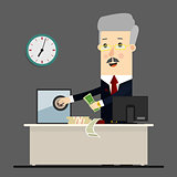 Bussinessman, boss, manager. Successful businessman sitting in a lounge chair front of  safe with money. Business concept cartoon illustration
