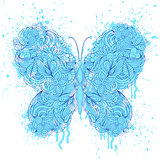 butterfly on grunge splash