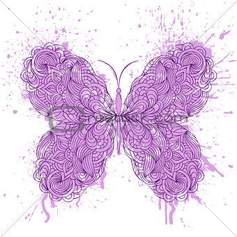 abstract butterfly on grunge splash