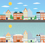 Summer and winter cityscapes
