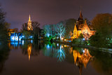 Fairytale night Lake Minnewater in Bruges, Belgium