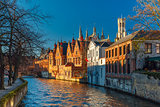 Belfort and the Green canal in Bruges, Belgium
