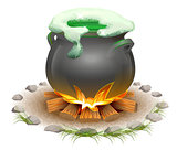 Magical potion brewed in pot. Magic ale St Patricks Day. Full pot on fire