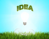 Glowing light bulb with the word idea over a field of fresh green grass, which are 2 more bulbs.. Green energy concept.