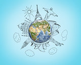 Planet earth with pencil sketches 7 Wonders of the World on blue background. Travel and world concept.