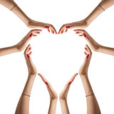 Sign of heart from hands folded isolated on white background. Family, love concept