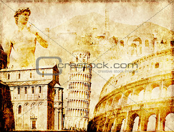 Grunge background with paper texture and landmarks of Italy