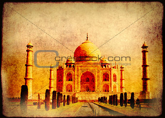 Grunge background with paper texture and Taj Mahal