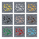 Texture for platformers pixel art vector: stone ore mineral blocks: silver, gold, coal, gem, iron