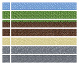Texture for platformers pixel art vector - mud grass stone ground tile isolated