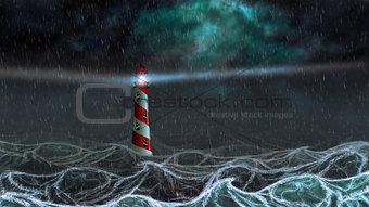 Dark Sea and Lighthouse