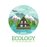 Ecology wooden house and nature