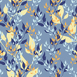 Spring hand drawing color seamless pattern. Vector floral color banner with leaves.