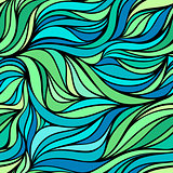 Vector color hand-drawing seamless wave sea background. Blue and green abstract sea texture.