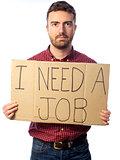 unemployed man isolated on white background