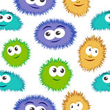 Seamless pattern bacteria with colorful monster face. Vector background with cartoon funny germs, cute monsters