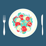Vector Illustration Salad in a Plate
