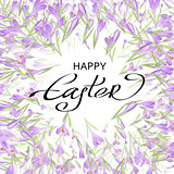 Vector card for Easter. Floral frame with crocuses