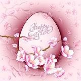Easter egg and sakura flowers