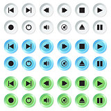 White, blue and green navigation buttons set.