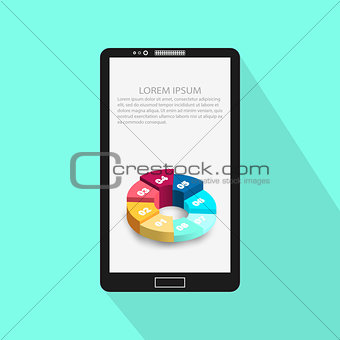 Background Of Modern Mobile Phone With Infographic Design Template. Vector Illustration Eps 10.