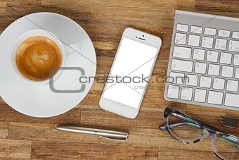 Office table with gusgets and supplies