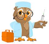 Owl doctor holding syringe. Owl veterinarian in white coat